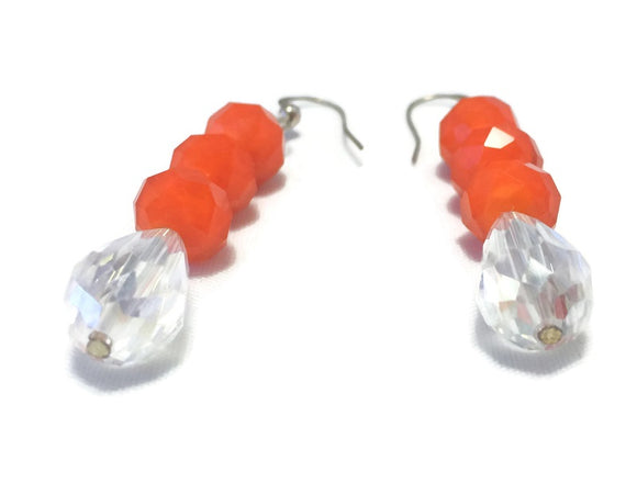 Orange Crystal Sterling Silver Earrings, Bridal Wedding Jewelry