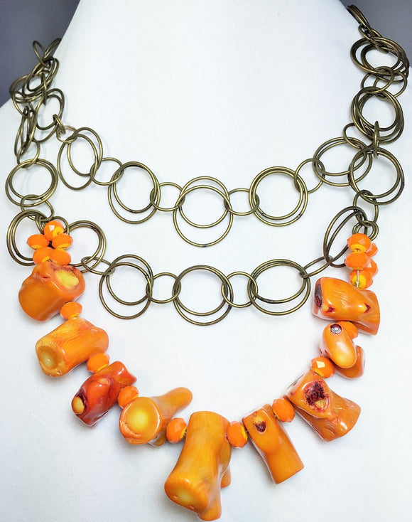 Orange Coral Branch Large Chain Necklace