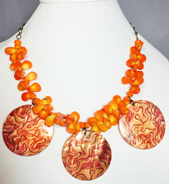 Orange Coral Multi-Pendant Gemstone Necklace