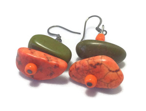 Orange Green Crystal Sterling Silver Earrings,