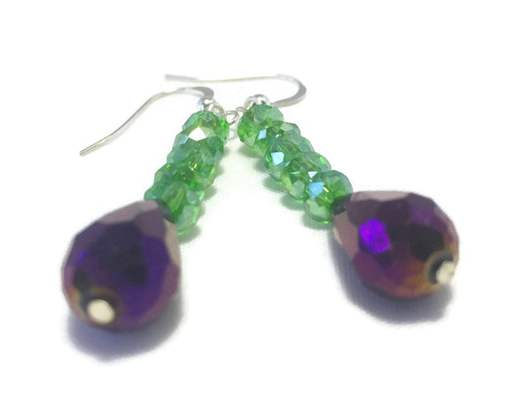 Purple Green Crystal Sterling Silver Earrings, Bridal Wedding Jewelry