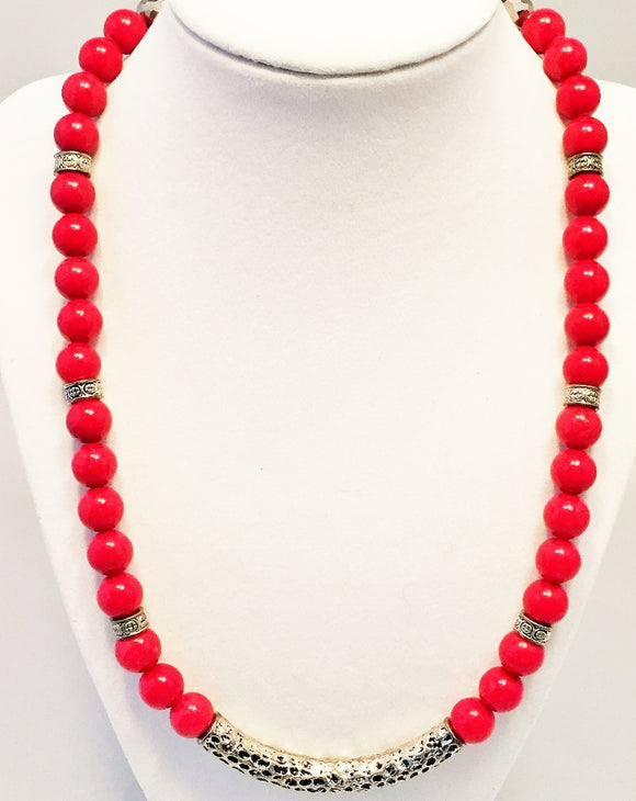 Red Jade Necklace, Silver Accent