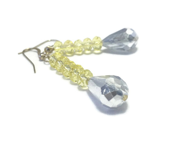 Yellow Crystal Sterling Silver Earrings, Bridal Wedding Jewelry