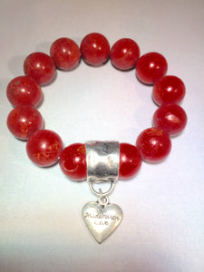 Red Coral Statement Charm Bracelet