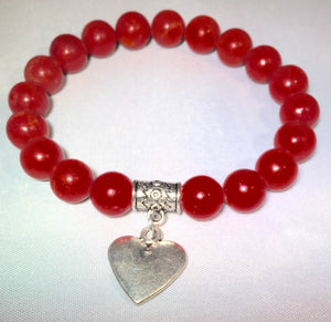 Red Coral Charm Bracelet
