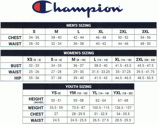 9dfcfe26c9 Champion Products Size Chart – Appleby College Shop