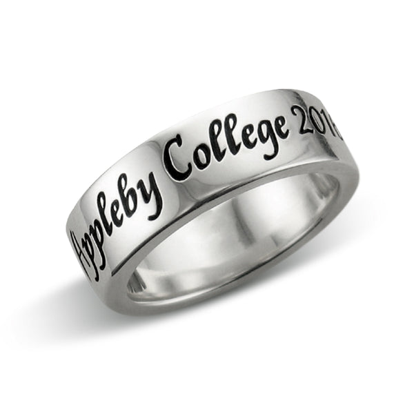 Women's Band Ring, Scroll Font