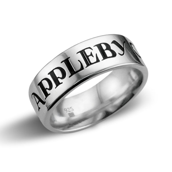 Men's Band Ring, Traditional Font