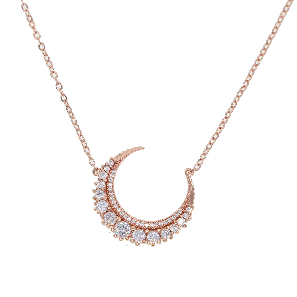 Half Moon Crystal Rose Gold Necklace - Spear and Stone
