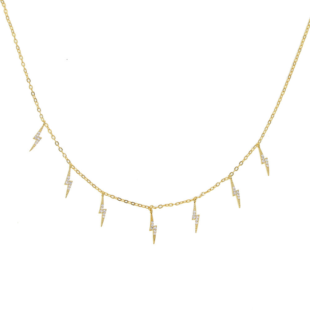 Gold Plated Lightning Necklace - Spear and Stone