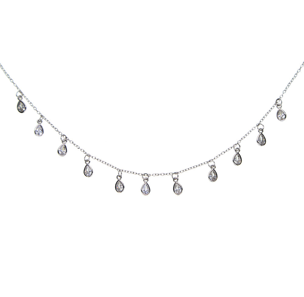 Multi Charm CZ Sterling Silver Necklace - Spear and Stone