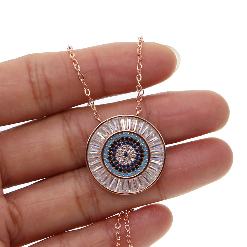 Round Rose Gold Evil Eye Necklace - Spear and Stone