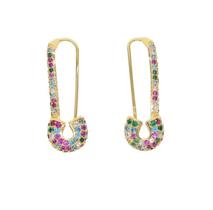 Multi-Colored Safety Pin Earrings - Spear and Stone