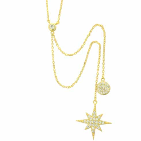 Pave Disk Star Necklace - Spear and Stone