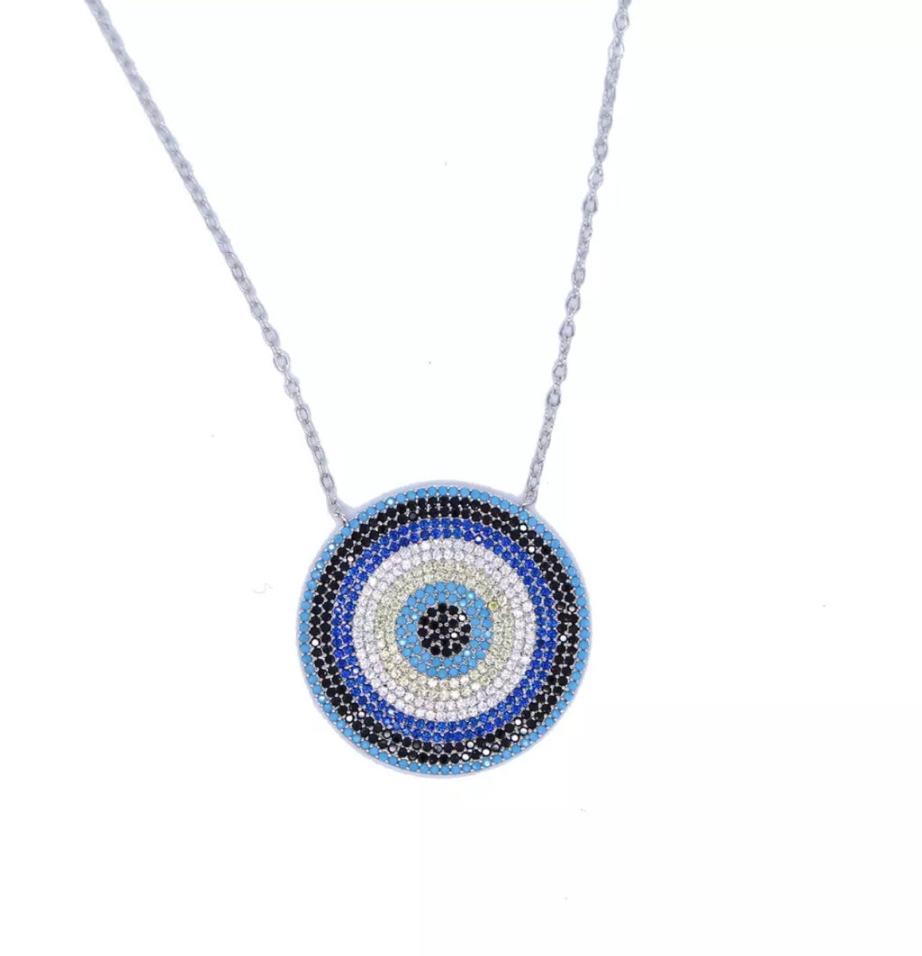 Sterling Silver Statement Evil Eye Necklace - Spear and Stone