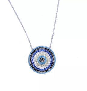 Sterling Silver Statement Evil Eye Necklace