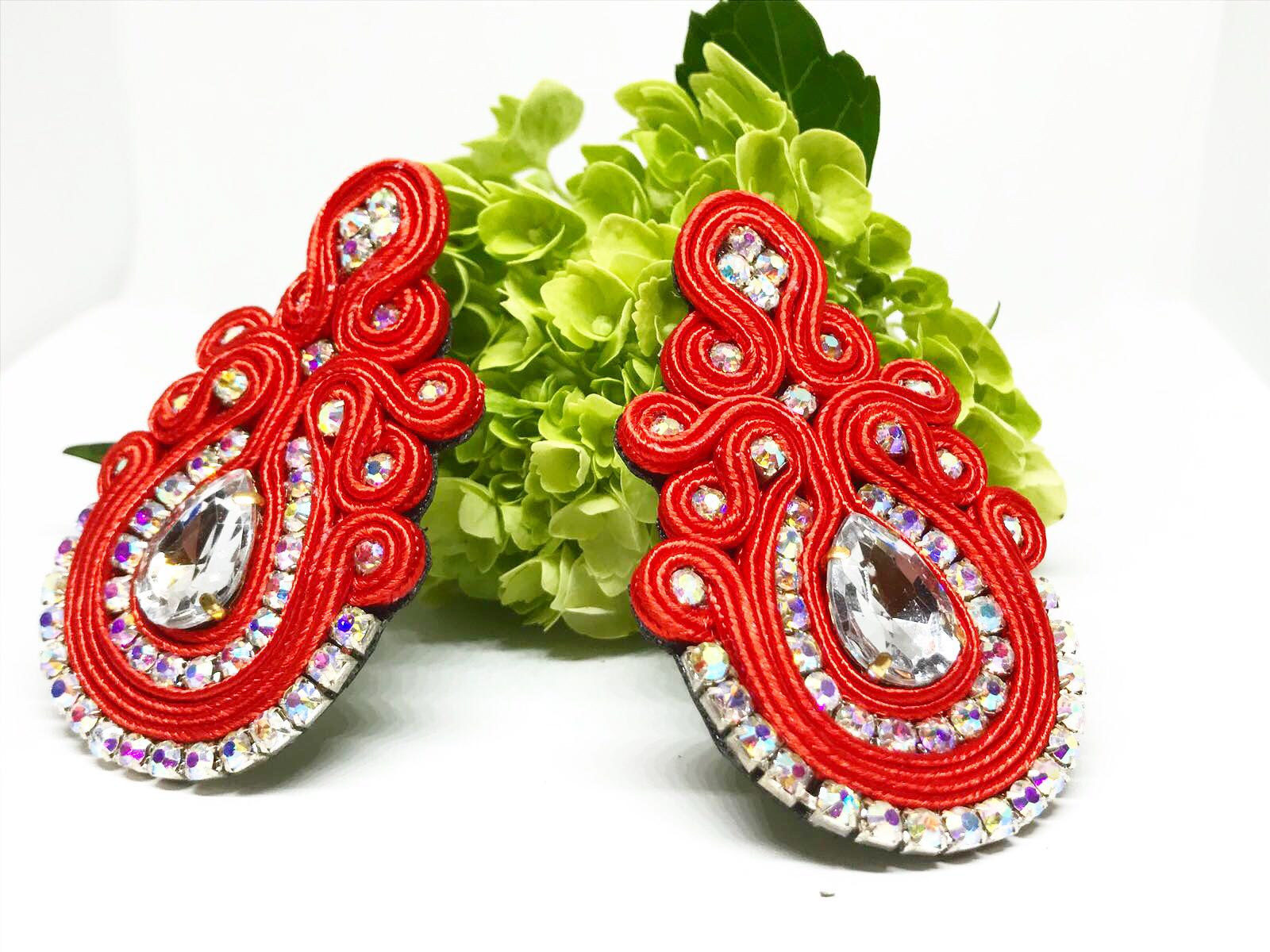 Large 18K Gold Post Soutache Earrings - Spear and Stone