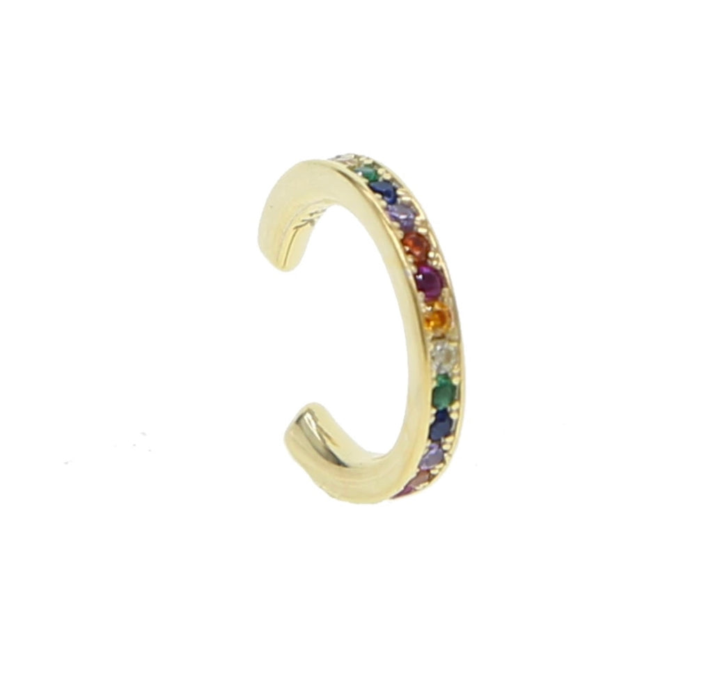 Rainbow Multi CZ Ear Cuff - Spear and Stone