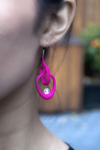 Petal Earrings in Magenta