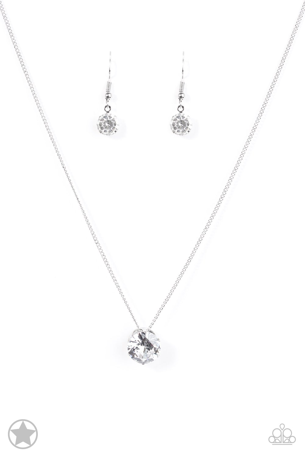 Paparazzi silver Necklace Set with white