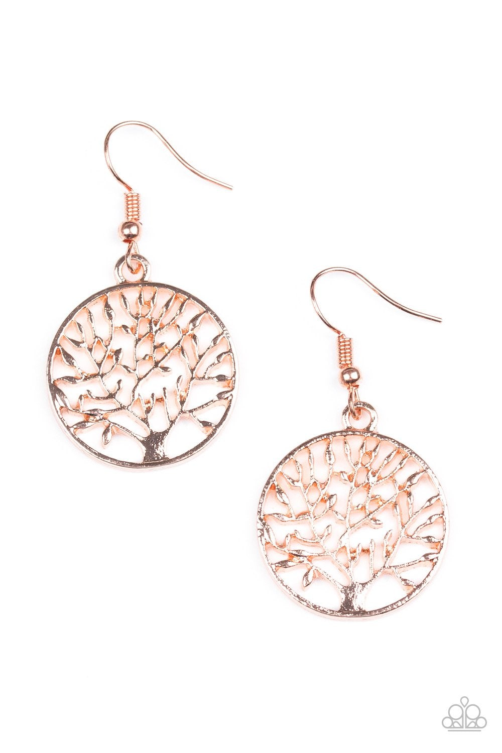 Brushed in a high-sheen finish, a shiny copper tree branches out across a circular frame for a whimsical look. Earring attaches to a standard fishhook fitting