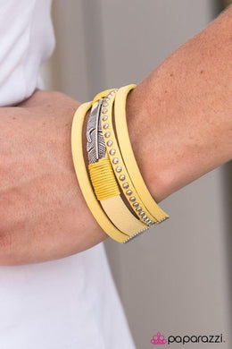 Bracelet: A Leading Flight - yellow suede with silver feather | Paparazzi Jewelry