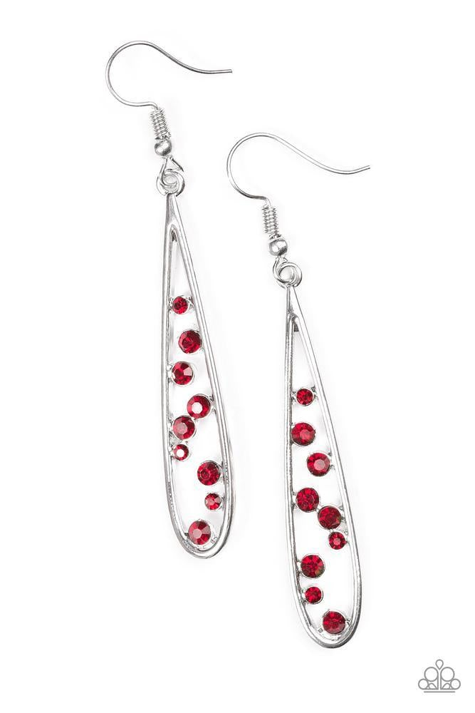Dainty red rhinestones tumble down the center of a shimmery silver teardrop, creating an elegant lure. Earring attaches to a standard fishhook fitting.