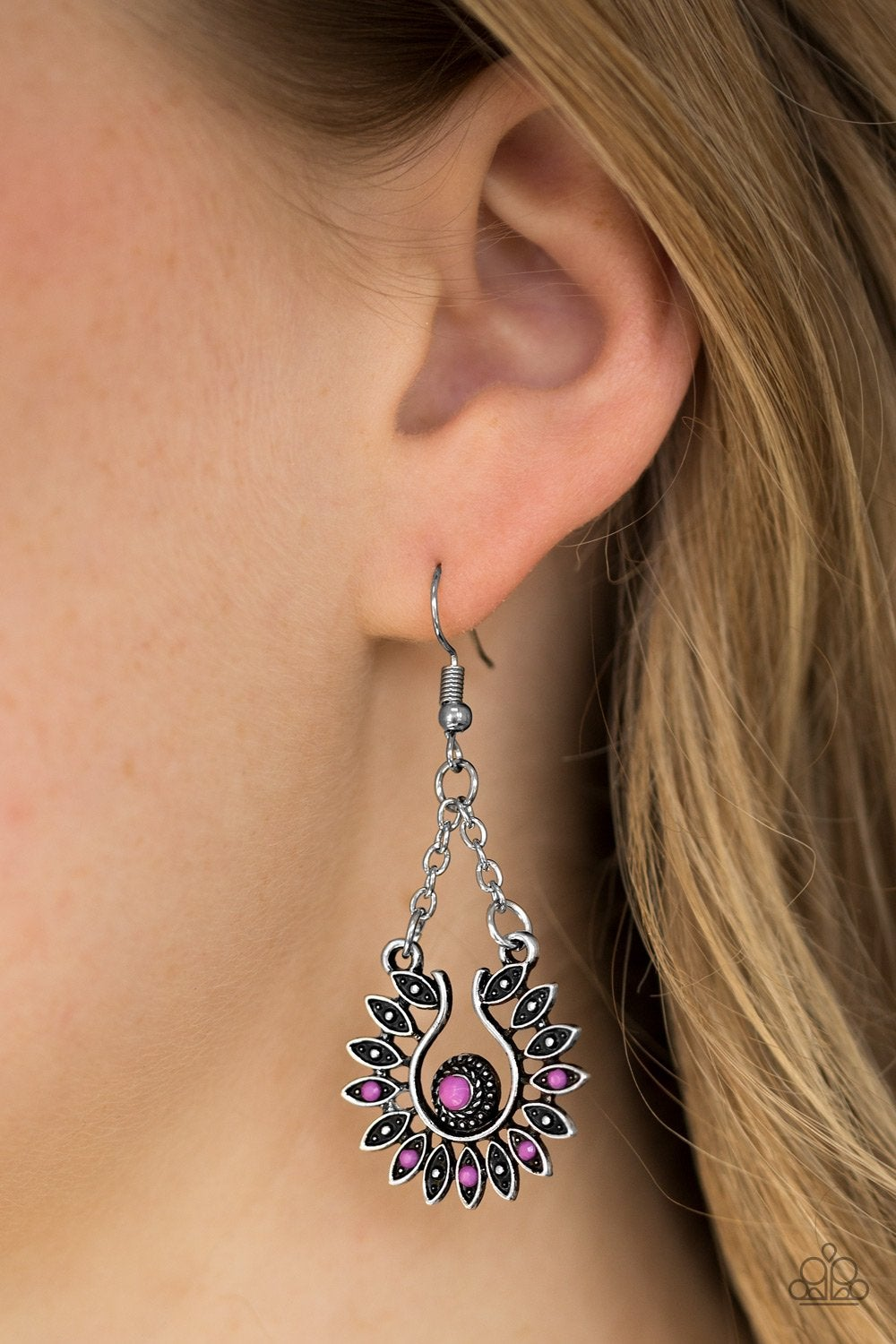 Paparazzi silver and purple earrings