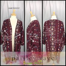 Load image into Gallery viewer, Kimono: Amethyst 2X/3X - black with purple floral | Paisley Raye