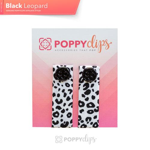 PoppyClips Accessory White with Black Leopard spots, black bling
