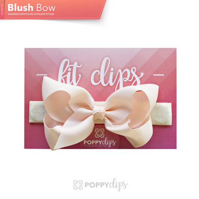 PoppyClips, FitClip: ivory with blush bow