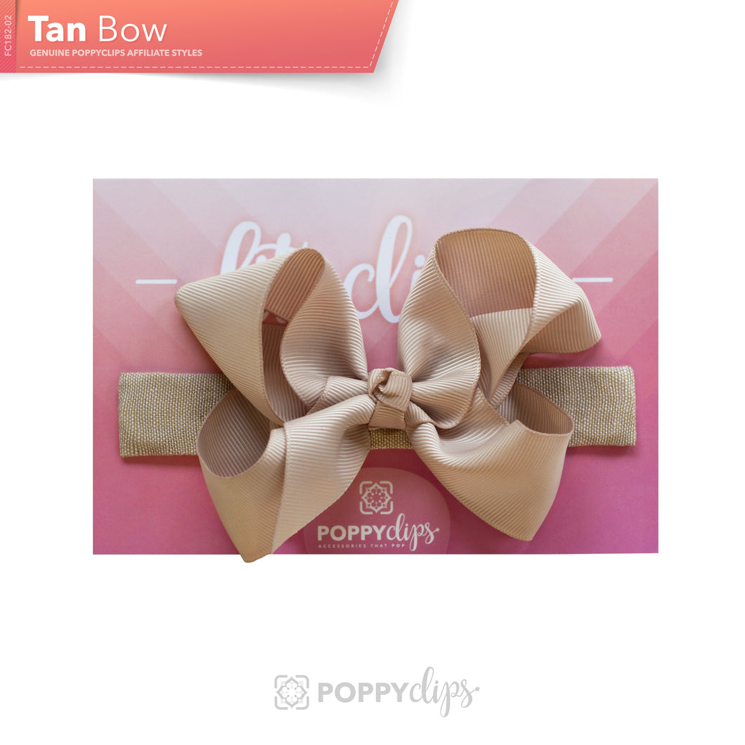 PoppyClips, FitClip: tan with tan bow