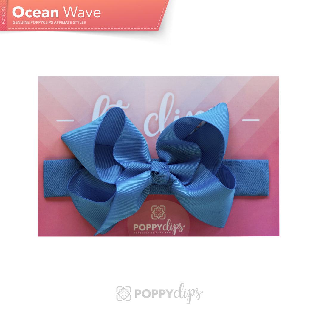 PoppyClips, FitClip: blue with blue bow