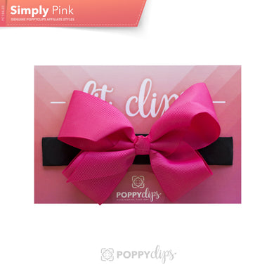 PoppyClips, FitClip: black with hot pink bow