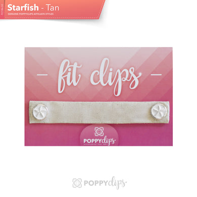 PoppyClips, FitClip: tan with silver with white filled starfish magnets