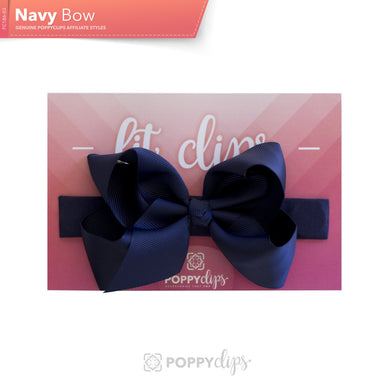PoppyClips, FitClip: navy with navy bow