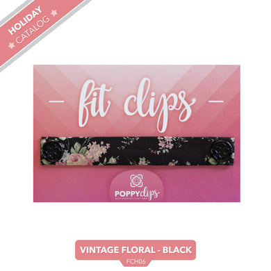 PoppyClips, FitClip: black with blush floral and black magnets