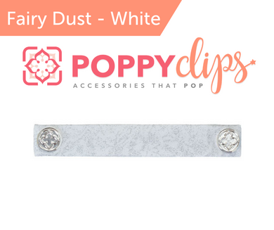 PoppyClips, FitClip:  silver on white w/silver magnets