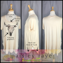 Load image into Gallery viewer, Shop beautiful Paisley Raye Graphic Tees and more at pineapplesandpalmtrees.net or locally in the Twelve Bridges Community of Lincoln, California.