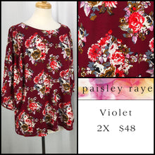 Load image into Gallery viewer, Top: Violet 2X - burgundy floral swing top | Paisley Raye