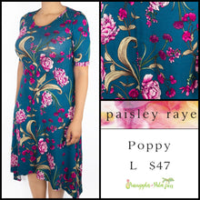 Load image into Gallery viewer, Paisley Raye Poppy Dress, Teal floral L, shop this Paisley Raye Poppy Dress and more at pineapplesandpalmtrees.net or locally in the Twelve Bridges Community of Lincoln, California.
