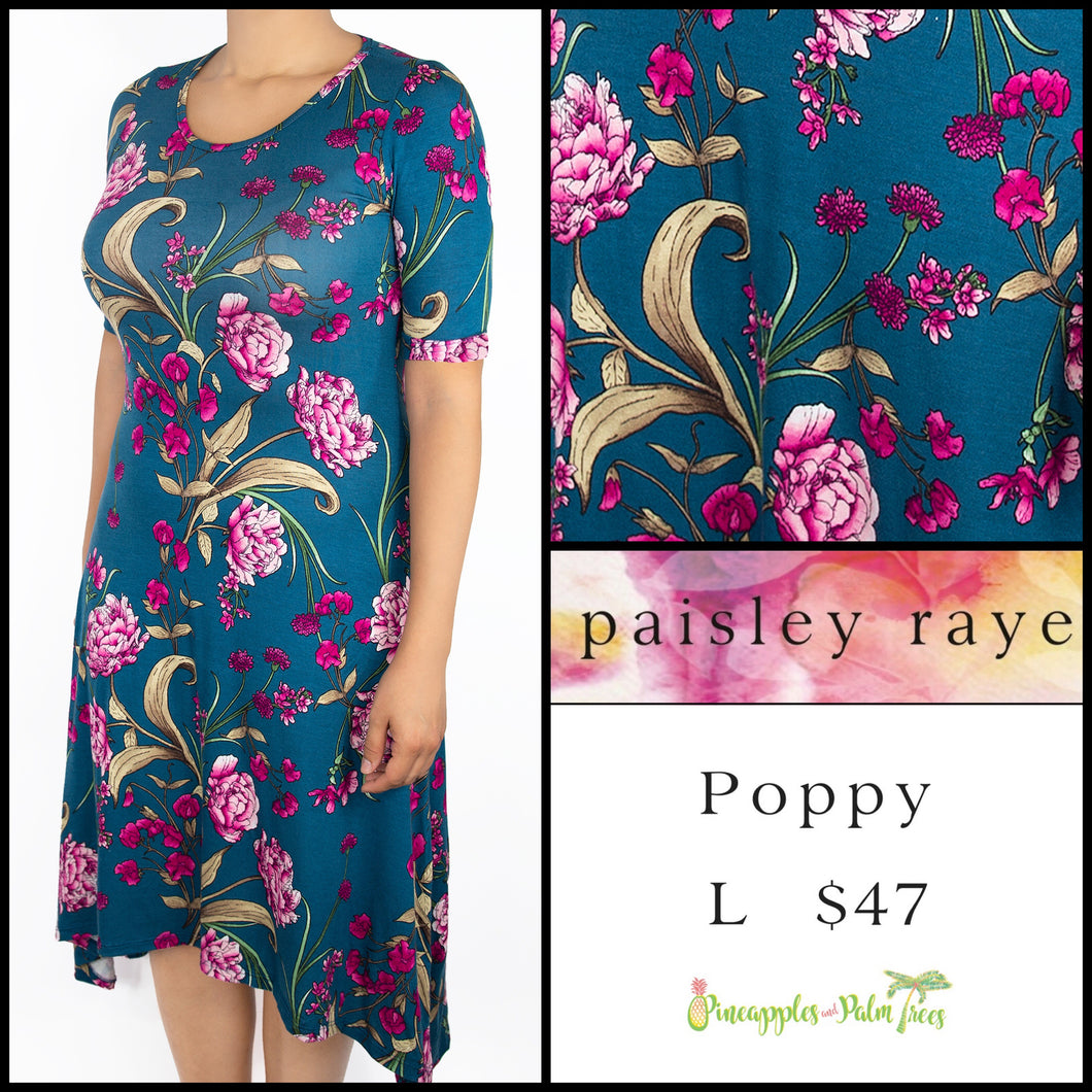 Paisley Raye Poppy Dress, Teal floral L, shop this Paisley Raye Poppy Dress and more at pineapplesandpalmtrees.net or locally in the Twelve Bridges Community of Lincoln, California.