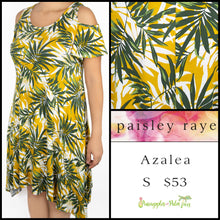 Load image into Gallery viewer, Paisley Raye Azalea cold shoulder dress S white floral, shop the Paisley Raye Azalea dress at pineapplesandpalmtrees.net or locally in Lincoln, California, in the Twelve Bridges Community.