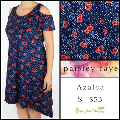 Paisley Raye Azalea cold shoulder dress S blue floral, shop the Paisley Raye Azalea dress at pineapplesandpalmtrees.net or locally in Lincoln, California, in the Twelve Bridges Community.