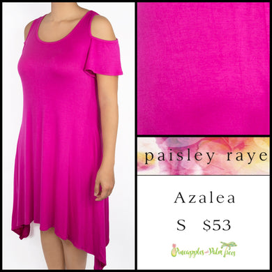 Paisley Raye Azalea cold shoulder dress S solid pink, shop the Paisley Raye Azalea dress at pineapplesandpalmtrees.net or locally in Lincoln, California, in the Twelve Bridges Community.
