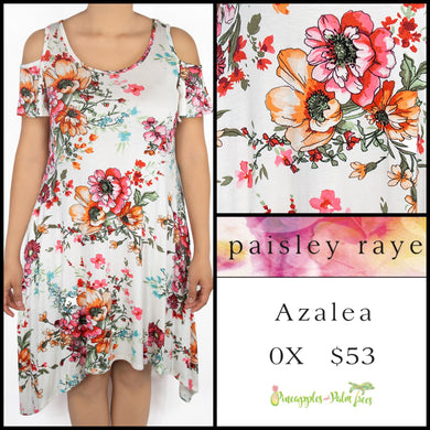 Paisley Raye Azalea cold shoulder dress 0X, white floral, shop the Paisley Raye Azalea dress at pineapplesandpalmtrees.net or locally in Lincoln, California, in the Twelve Bridges Community.