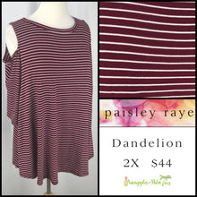 Load image into Gallery viewer, Paisley Raye Dandelion 2X Burgundy/White Stripes, shop this Paisley Raye Dandelion Top and more at pineapplesandpalmtrees.net or locally in the Twelve Bridges Community.Lincoln, California.