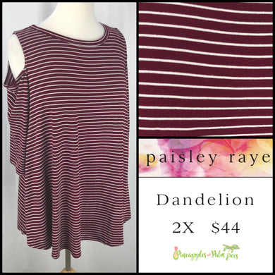 Paisley Raye Dandelion 2X Burgundy/White Stripes, shop this Paisley Raye Dandelion Top and more at pineapplesandpalmtrees.net or locally in the Twelve Bridges Community.Lincoln, California.