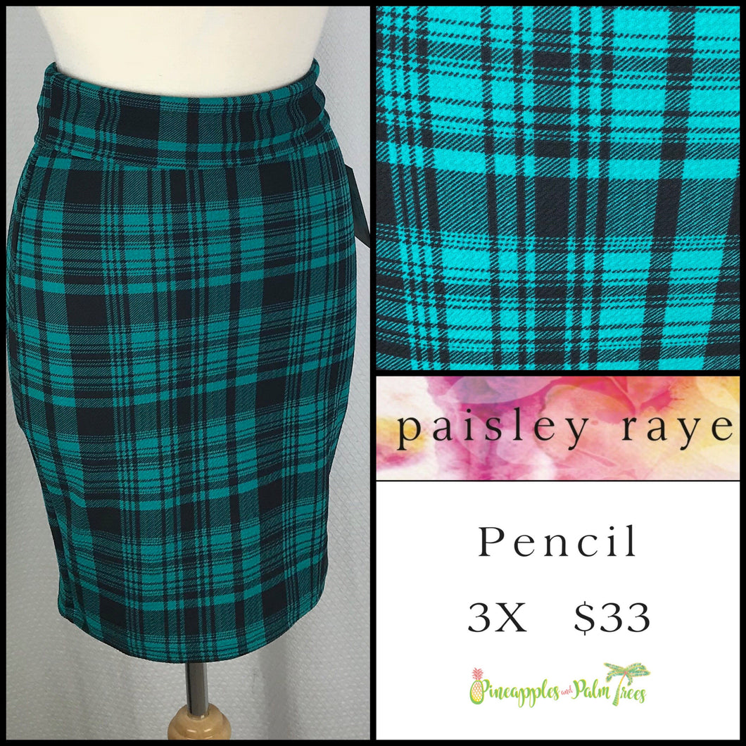 Paisley Raye 3X Pencil Skirt in Black/Green Plaid, shop this Paisley Raye Pencil Skirt and more at pineapplesandpalmtrees.net or locally in the Twelve Bridges Community of Lincoln, California