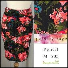 Load image into Gallery viewer, Paisley Raye M Pencil Skirt in Black Floral, shop this Paisley Raye Pencil Skirt and more at pineapplesandpalmtrees.net or locally in the Twelve Bridges Community of Lincoln, California